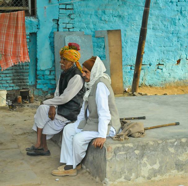Two older gentlemen relaxing. Delhi.