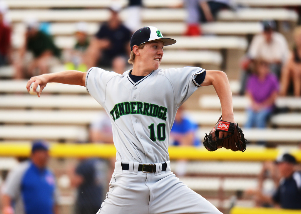 . DENVER, CO. - MAY 24 :Bradley Thoutt of ThunderRidge High School pitches against Cherry Creek High School during semifinal round of 5A State Championships baseball game at All City Field. Denver, Colorado. May 24, 2013. ThunderRidge won 5-1. (Photo By Hyoung Chang/The Denver Post)