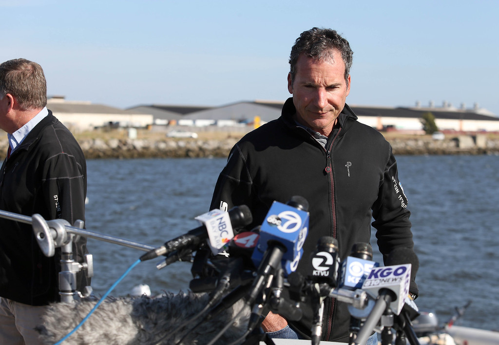 . Artemis Racing Chief Executive Officer Paul Cayard prepares to speak to the media during a short press conference at the Artemis Racing headquarters at the former Alameda Naval Air Station in Alameda, Calif., on Thursday, May 9, 2013. (Jane Tyska/Bay Area News Group)