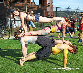 Acro Yoga at  Fremont's Summer  Solstice 2015