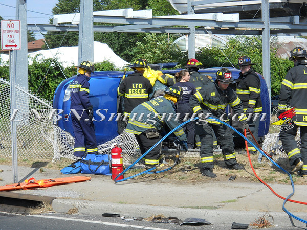 Lindenhurst F.D. Overturned Auto Montauk Hwy.  7-10-11