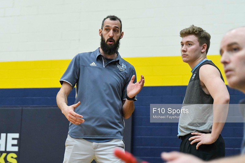 TORONTO, CANADA - Feb 21: during OCAA Volleyball Provincial Championship game between LA CITE COYOTES MEN'S VOLLEYBALL VS NO. 14 REDEEMER ROYALS at Humber Hawks Athletics Center. Photo: Michael Fayehun/F10 Sports Photography