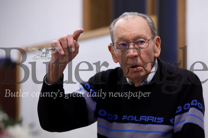 World War II D-Day veteran Jim Stark, 96, of Sarver recounts D-Day to veterans and families at St. Luke's Thanksgiving for veterans Saturday. Seb Foltz/Butler Eagle
