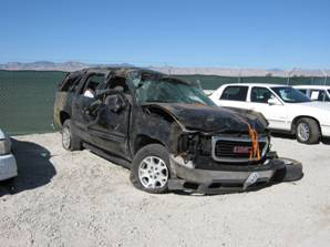 . This SUV was involved in crash Monday afternoon on Highway 58 in Kern County that killed four related teens from Oakland and injured another 17-year-old youth. (California City Police Department).