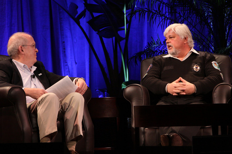 """Whale Wars: Filming and Fighting Illegal Whalers in the Antarctic"": Host Roger Payne (L), Founder and President, Ocean Alliance; and Paul Watson, President and Founder, Sea Shepherd Conservation Society"