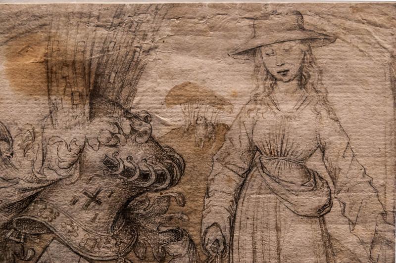 Rogier van der Weyden (Umkreis): Margarete (?) als Hirtin mit Wappen, Detail [um 1480, Kupferstichkabinett Berlin]