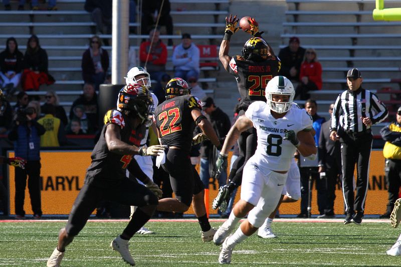 Maryland DB #25 Antoine Brooks Jr. batts down a pass by Michigan State QB #14 Brian Lewerke