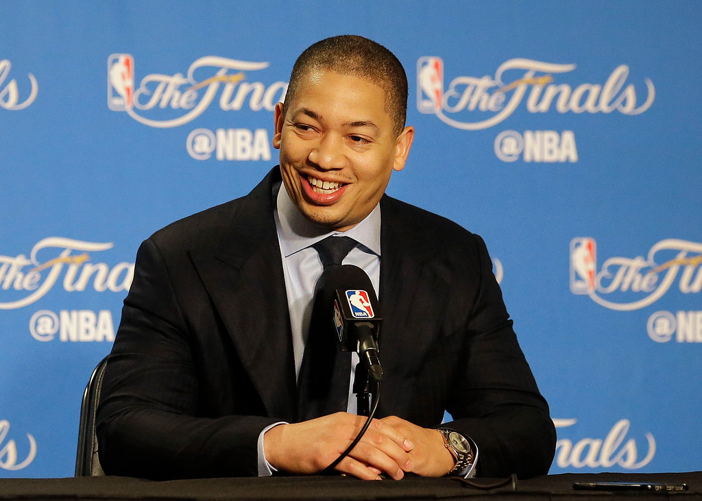 . Cleveland Cavaliers head coach Tyronn Lue smiles during a news conference before Game 1 of basketball\'s NBA Finals between the Golden State Warriors and the Cavaliers in Oakland, Calif., Thursday, June 1, 2017. (AP Photo/Jeff Chiu)