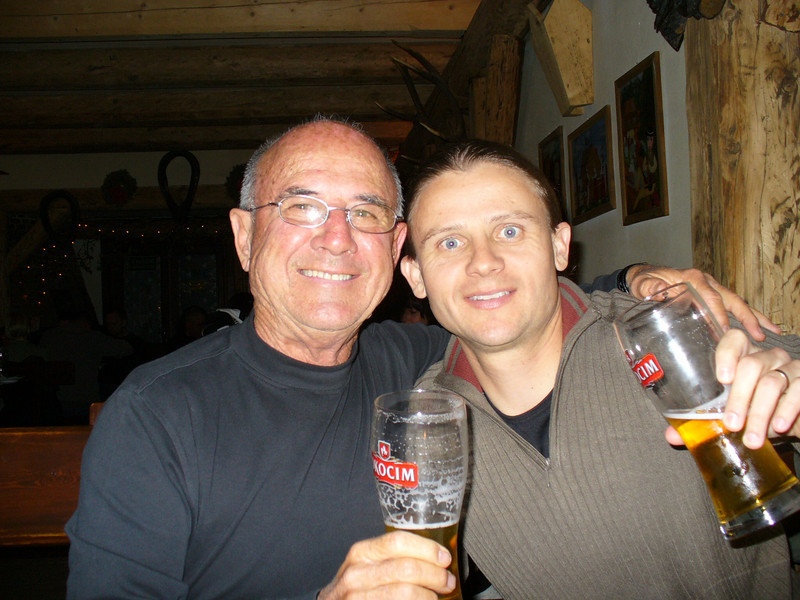 My dad and I drinking Polish beer.