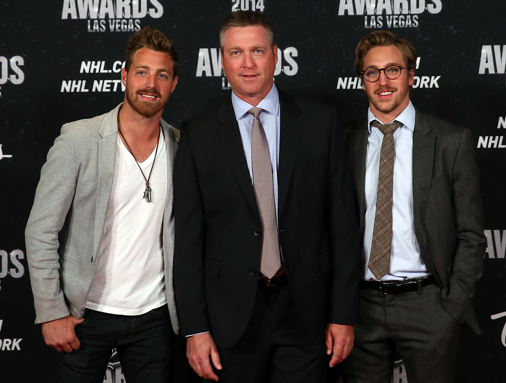 . Patrick Roy of the Colorado Avalanche and his sons Frederick and Jonathan arrive on the red carpet prior to the 2014 NHL Awards at Encore Las Vegas on June 24, 2014 in Las Vegas, Nevada.  (Photo by Bruce Bennett/Getty Images)