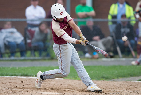 05/29/19 Wesley Bunnell | Staff New Britain and Southington baseball played to a 2-2 tie in the bottom of the 10th inning before the game was postponed due to rain. The game is scheduled to resume May 30th at 3:00pm. Danniel Rivera (1).