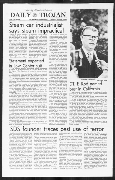 Daily Trojan, Vol. 61, No. 84, March 03, 1970
