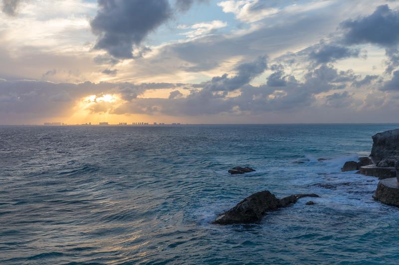 Sun going down on Cancun resorts.