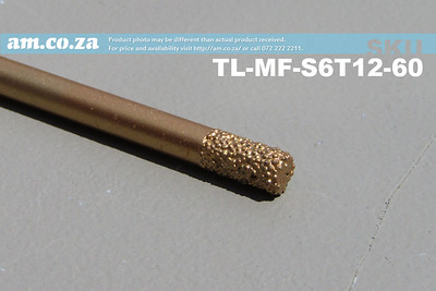 TL-MF-S6T12-60 , 6mm Flat End Mill Marble Stone Router Bit with 12mm Medium Grit, Full Length ⩾60mm