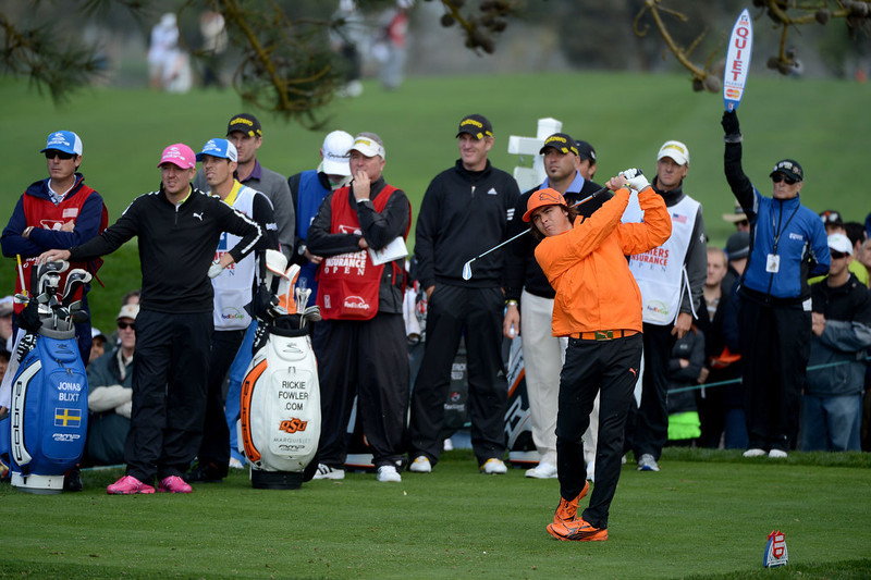 . Ricky Fowler hits off the tee box during the Third Round at the Farmers Insurance Open at Torrey Pines South Golf Course on January 27, 2013 in La Jolla, California. (Photo by Donald Miralle/Getty Images)