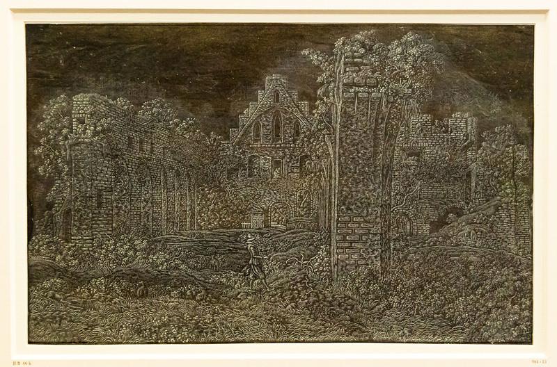 Hercules Seghers: Die Ruine des Klosters Rijnsburg, Große Version [um 1620/30, Kupferstichkabinett Berlin]