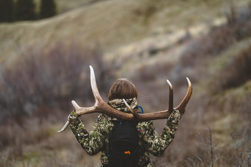 Malia Frame (@malia_f) with Washington State elk shed. April 2018