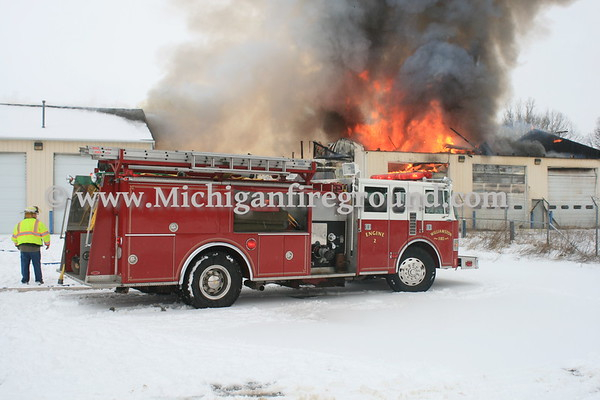1/31/17 - Williamston industrial garage fire, 3444 Corwin Rd