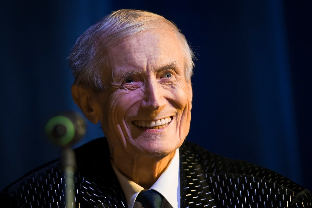 . FILE- In this file photo taken on Tuesday, Jan. 6, 2015, Yevgeny Yevtushenko, 81, a Soviet and Russian poet performs in Moscow, Russia. Acclaimed Russian poet Yevgeny Yevtushenko, whose work focused on war atrocities and denounced anti-Semitism and tyrannical dictators, has died aged 84, according to several Russian news outlets. (AP Photo/Alexander Zemlianichenko, file)