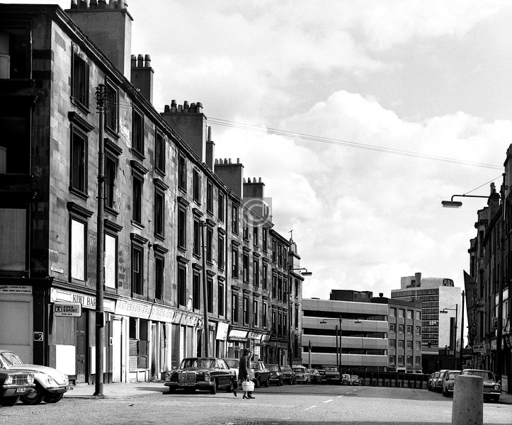 Cowcaddens St leading to the top of Buchanan St. Buchanan St Station had been just round to the left at the far end of this block, and across the road.  