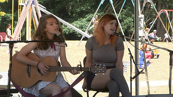 Ruby Seago and Maijah Sanson-Frey at the VARSA Youth Stage Ober Park Strawberry Festival Sunday