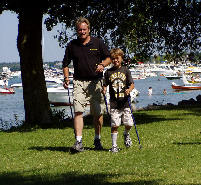 Nordic Walking along the bay after Nordic Ski Walking In the Cherry Festival Parade