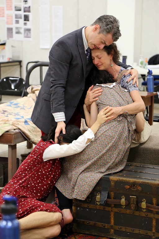 """. Rick Wasserman, Lise Bruneau, Sarah Cuneo and Annie Fox rehearse a scene for the Cleveland Play House production of \""""The Diary of Anne Frank.\"""" The show is at Playhouse Square\'s Outcalt Theatre through Nov. 19. For more information, visit www.clevelandplayhouse.com. (Submitted)"""