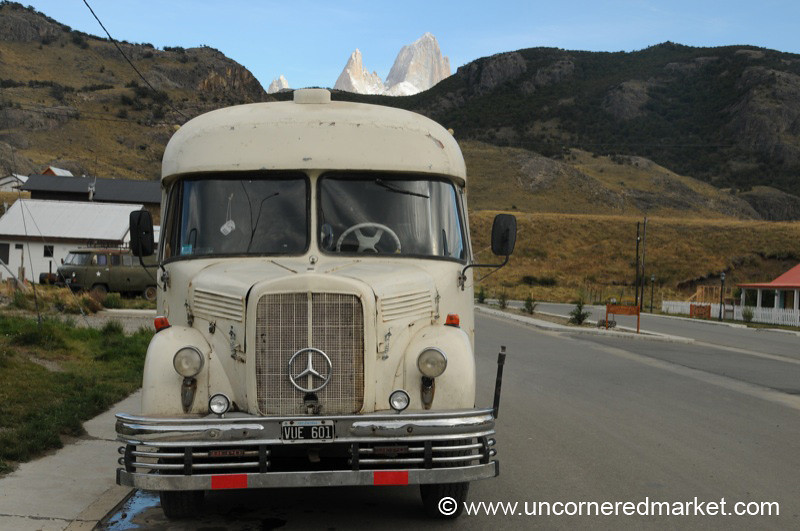 Old School Bus and Fitz Roy Peak - El Chalten, Argentina