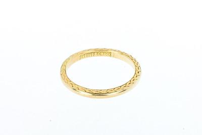 Shreve & Company engraved gold wedding band