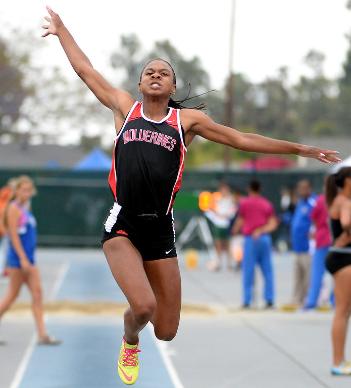 . Harvard Westlake\'s Courtney Corrin competes in the Division 3 long jump during the CIF Southern Section track and final Championships at Cerritos College in Norwalk, Calif., on Saturday, May 24, 2014.   (Keith Birmingham/Pasadena Star-News)