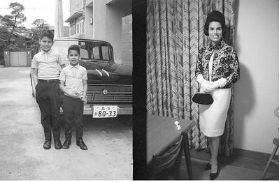 Ronald and Emile and Scottish neighbors' Nissan Cedric auto.  Martha in our house at Higashi-Tamagawa, Tokyo Japan 1964-66.