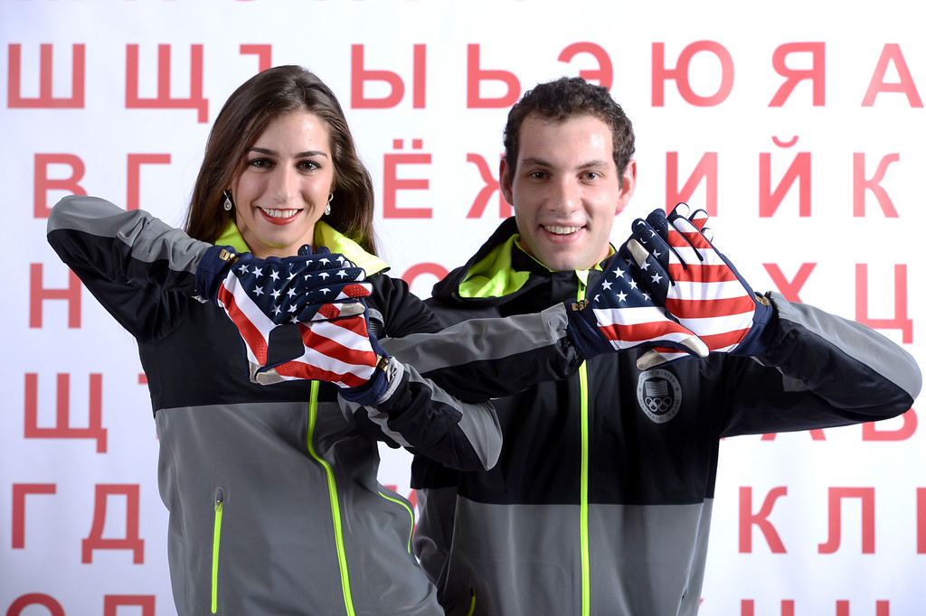 . Pairs Skaters Marissa Castelli and Simon Shnapir pose for a portrait during the USOC Media Summit ahead of the Sochi 2014 Winter Olympics on October 1, 2013 in Park City, Utah.  (Photo by Harry How/Getty Images)
