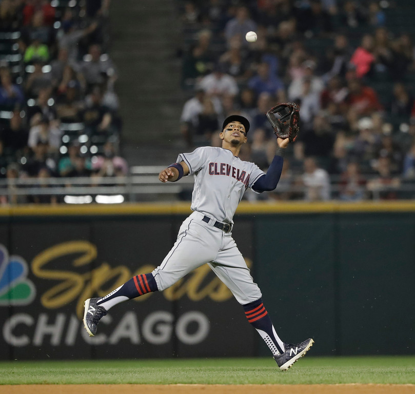 . Cleveland Indians\' Francisco Lindor catches a shallow pop up from Chicago White Sox\'s Adam Engel during the sixth inning of a baseball game Tuesday, June 12, 2018, in Chicago. (AP Photo/Charles Rex Arbogast)