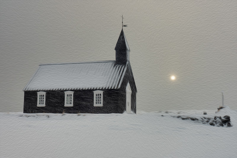 The Black Church on a Snowy Day, Iceland