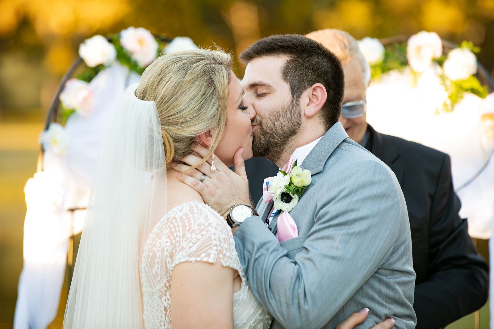 bride and groom kissing as the finish their vows