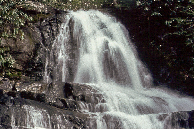Waterfall cascading down a mountainside in Great Smoky Mountains National Park.