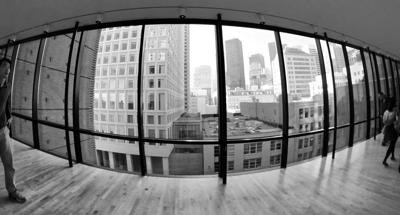 Fisheye view of San Francisco from within the San Francisco Museum of Modern Art (SFMOMA)