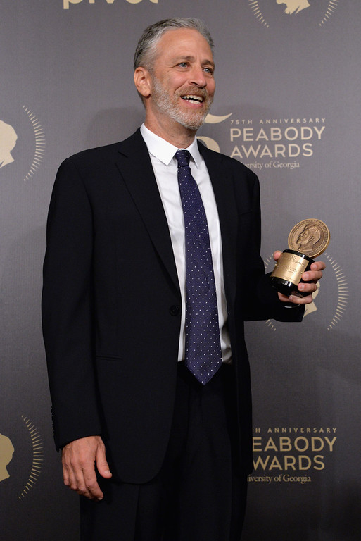 . Jon Stewart poses with an award during The 75th Annual Peabody Awards Ceremony at Cipriani Wall Street on May 21, 2016 in New York City.  (Photo by Gary Gershoff/Getty Images for Peabody)