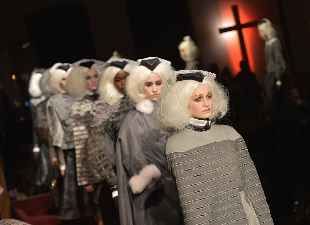 . Models walk the runway at the Thom Browne Women\'s fashion show during Mercedes-Benz Fashion Week Fall 2014 at Center 548 on February 10, 2014 in New York City.  (Photo by Slaven Vlasic/Getty Images)