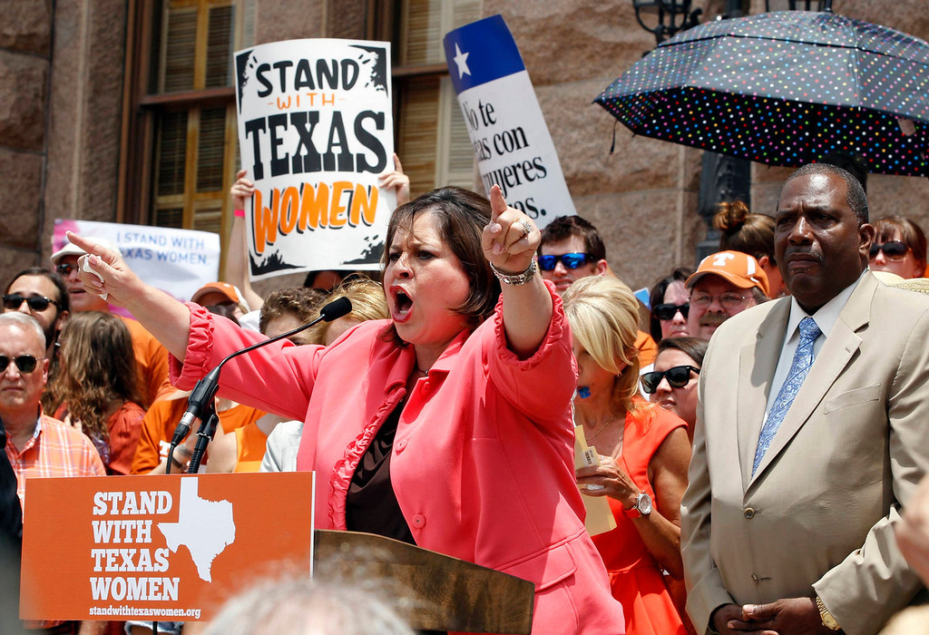 . Leticia Van de Putte, a democrat from San Antonio, speaks at a protest before the start of a special session of the Legislature in Austin, Texas on July 1, 2013. When the Texas Legislature convenes on Monday for a second special session, the Republican majority will seek to do what it couldn\'t pull off in the first, when Democrat Wendy Davis stalled the measure on abortion restrictions for hours.  REUTERS/Mike Stone
