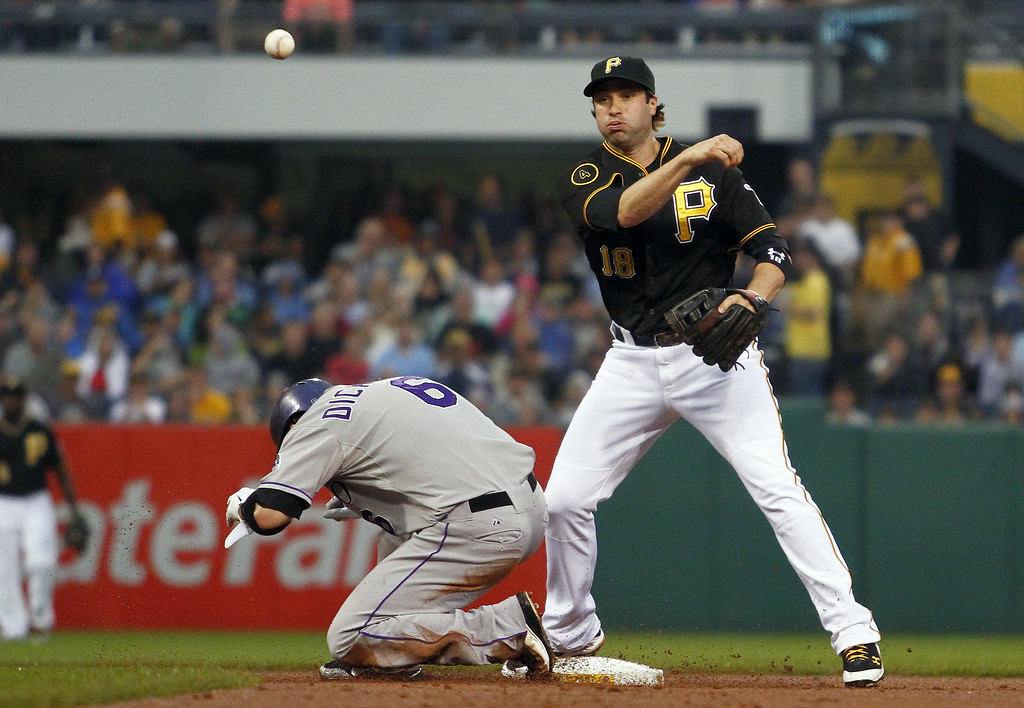 . PITTSBURGH, PA - JULY 19: Neil Walker #18 of the Pittsburgh Pirates turns a double play in the second inning against Corey Dickerson #6 of the Colorado Rockies during the game at PNC Park July 19, 2014 in Pittsburgh, Pennsylvania. (Photo by Justin K. Aller/Getty Images)