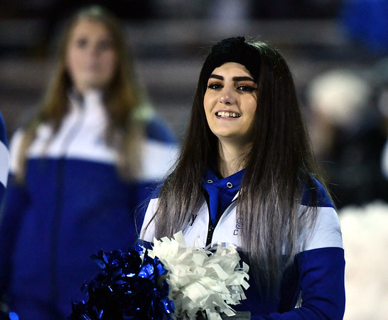 12/4/2019 Mike Orazzi | StaffrA Southington High School Cheerleader during the Class LL football playoff with Ridgefield at Southington High School on Wednesday night.