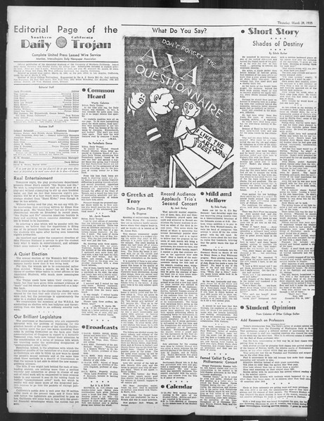 Daily Trojan, Vol. 26, No. 105, March 28, 1935