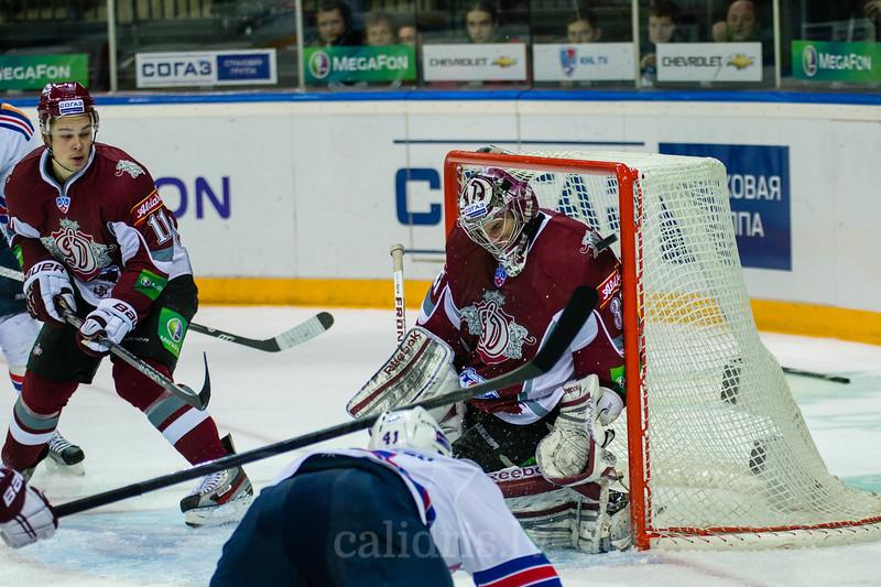 Goaltender of Dinamo Riga Jucers Maris (37) saves the goal