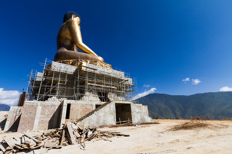 The Buddha Dordenma while it was under construction in Thimphu, Bhutan