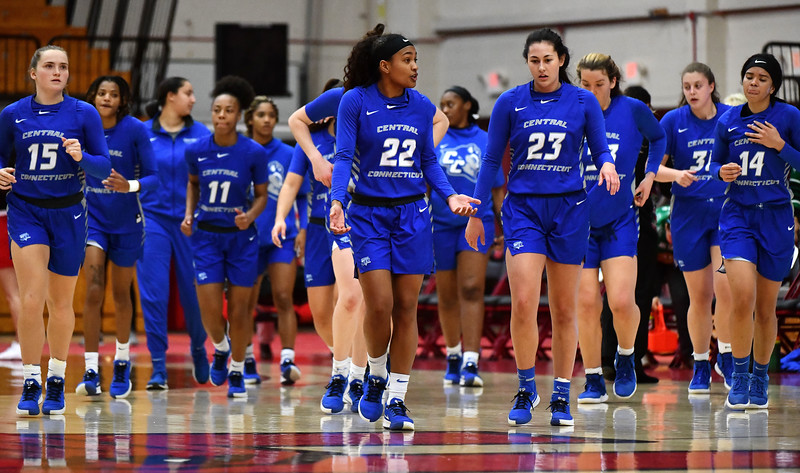 12/21/2019 Mike Orazzi | Staff CCSU during Saturday's women's basketball game with The University of Hartford in West Hartford.