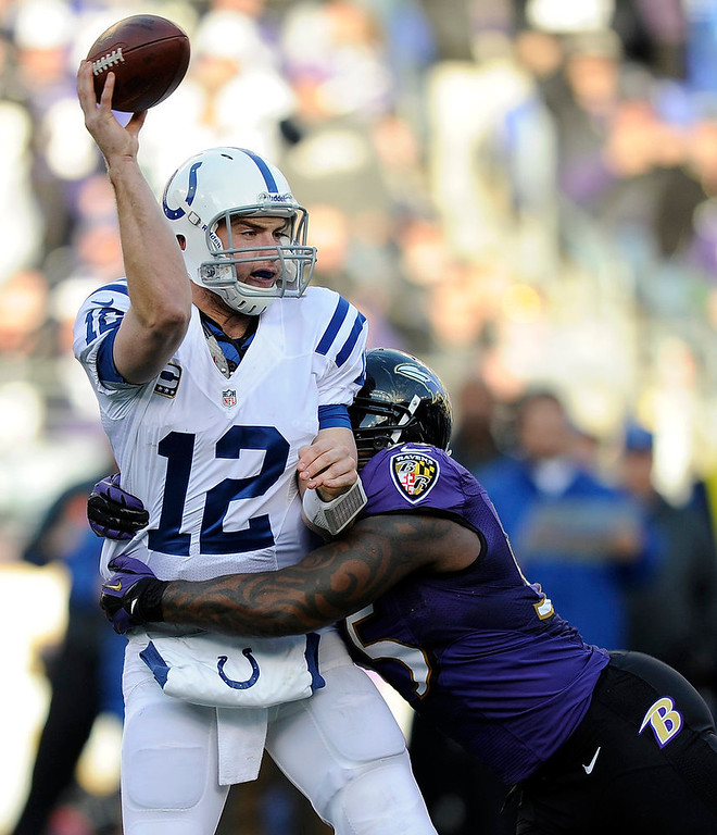 . Indianapolis Colts quarterback Andrew Luck (12) is hit by Baltimore Ravens outside linebacker Terrell Suggs (55), as he throws, during the second half of an NFL wild card playoff football game Sunday, Jan. 6, 2013, in Baltimore. (AP Photo/Nick Wass)
