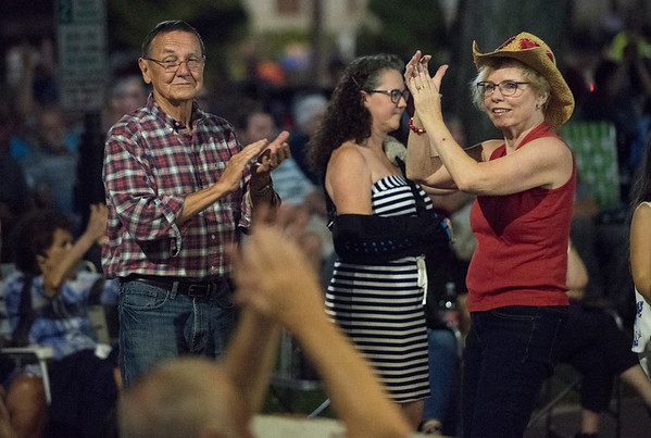 08/29/19 Wesley Bunnell | StaffrrKing Kountry performed on the Southington green as part of the town's summer 2019 concert series on Friday August 29, 2019. Hermann and Donna Kasper of Southington dance during the concert.