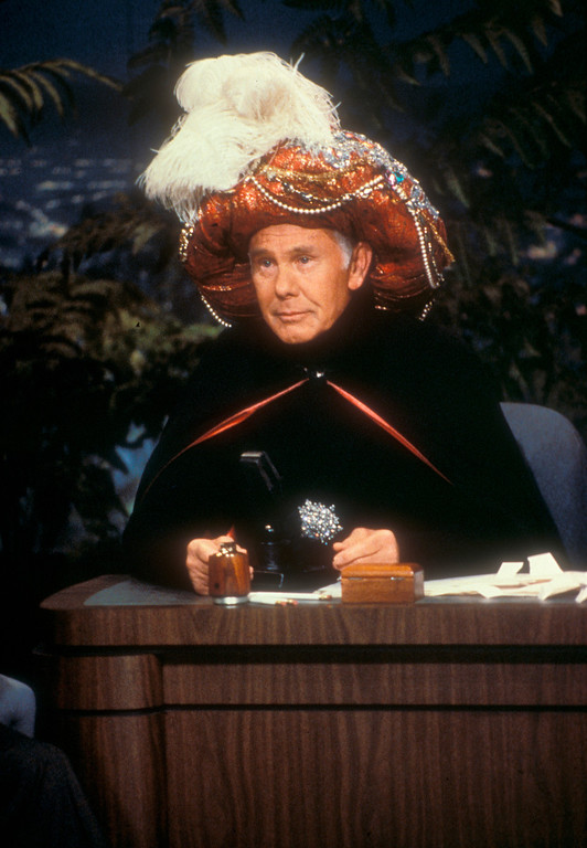 ". In this undated photo provided by NBC, Johnny Carson begins an episode of the ""Tonight Show\"" as \""Carnac, The Magnificent!\""  Carson died Sunday, Jan. 23, 2005 according to his nephew. He was 79.  (AP Photo/NBC, Chris Haston)"