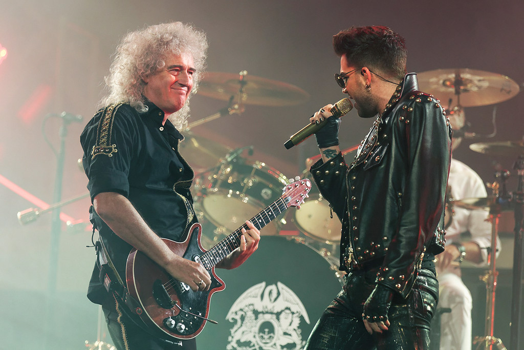 . Adam Lambert and Brian May of Queen at The Palace on 7-12-14. Photo by Ken Settle